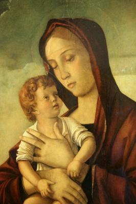 Джованни Беллини. Мадонна с младенцем (Мадонна Бернаскони). Фрагмент
