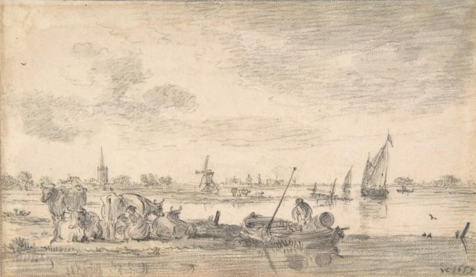 Jan van Goyen. Cows at the river