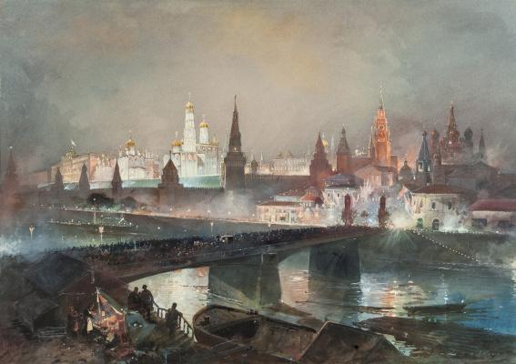 Николай Николаевич Каразин. Иллюминация Кремля во время торжеств по случаю коронации императора Николая II