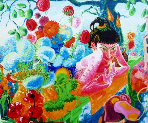Kandinsky-DAE. Flower girl. Canvas, oil, 100x120, 2005