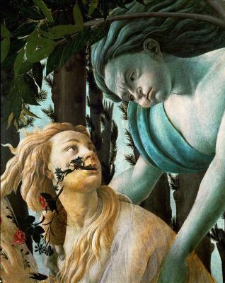 Sandro Botticelli. Spring (Primavera). Detail: Zephyr, God of wind, pursuing a nymph Chloe