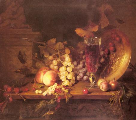 Александр Блез Десгоф. Натюрморт с фруктами. Бокал вина и бронзовый сосуд на выступе