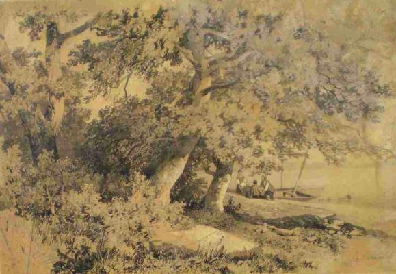 Александр Года, Калам 1810 Веве 19 марта 1864 Ментона) швейцарский художник.. Дубовая роща  1850 год (требуется небольшая реставрация)