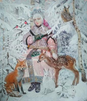 """Svetlana Petrovna Ivkina. ,, Snow Maiden """", oil on canvas 2020, 70/60"""