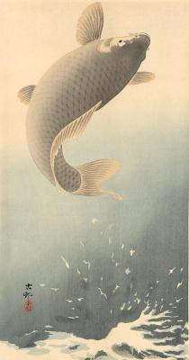 Ohara Koson. Jumping carp
