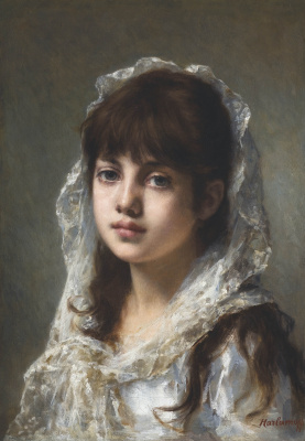 Alexey Alekseevich Kharlamov. Portrait of a young girl in a white veil.