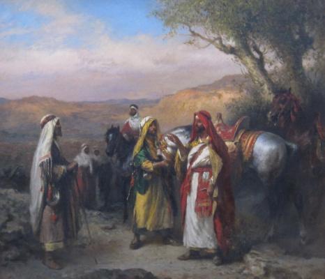 "Vladimir PORETSKOV. V. Boreskov ""Arab horsemen"". Size: 67,5х77,5 cm.."