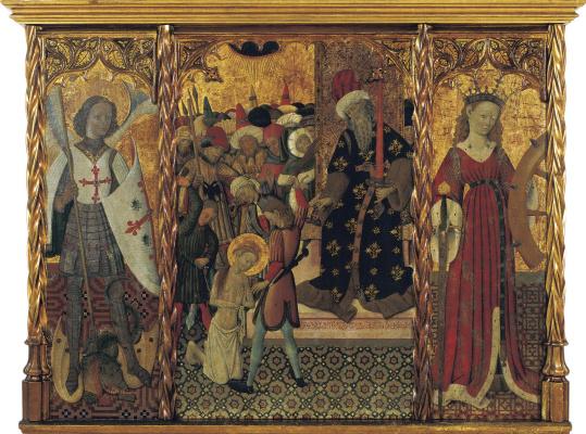Бернат Марторель. Святой Мигель и мученицы Святая Эулалия и Святая Катерина