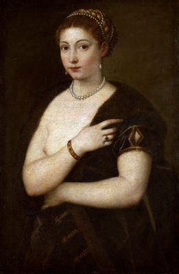 Titian Vecelli. Portrait of a girl with fur