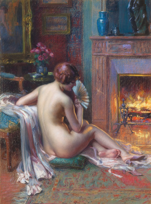 Dolphin Angolra. Nude with a fan in front of the fireplace.