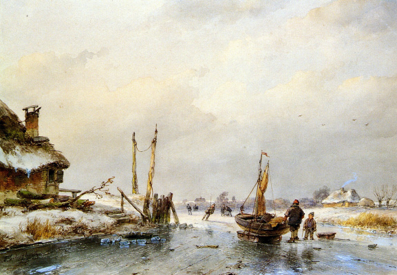 Андреас Схелфхаут. Зимний вид ледяной лодки