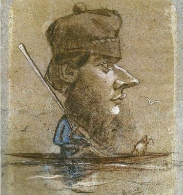Клод Моне. Охотник и его собака на лодке