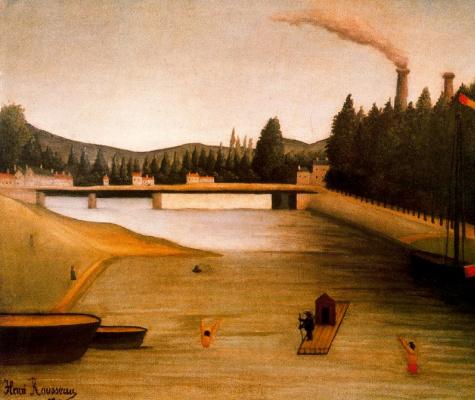 Henri Rousseau. Bathing at Alfortville