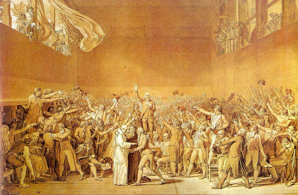 Jacques-Louis David. The oath in the hall for ball games. Sketch