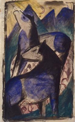 Franz Marc. Two blue horses