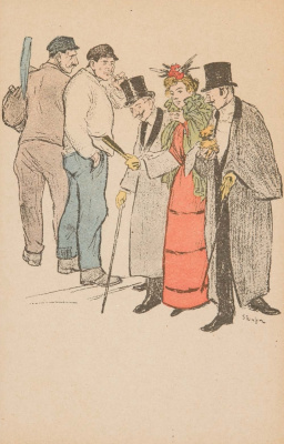 Theophile-Alexander Steinlen. Secular lady and two accompanying men