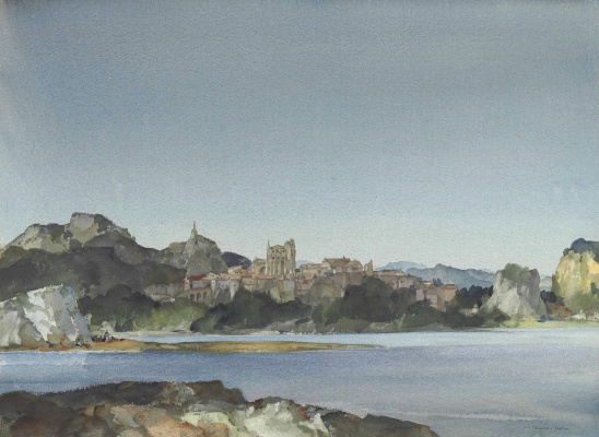 William Russell Flint 1880 - 1969 Scotland. Viviers on the Rhone, in the south of France.