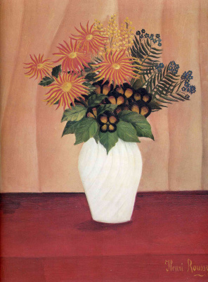 Henri Rousseau. White vase with flowers