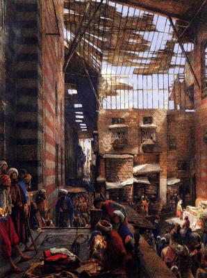 Джон Фредерик Льюис. Вид на улицу и мечеть в Каире