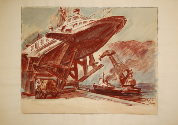 Victor Ivanovich Vikhtinsky. Floating crane