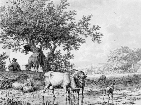 Иаков Кетс. Пейзаж с пастухом и крупным рогатым скотом