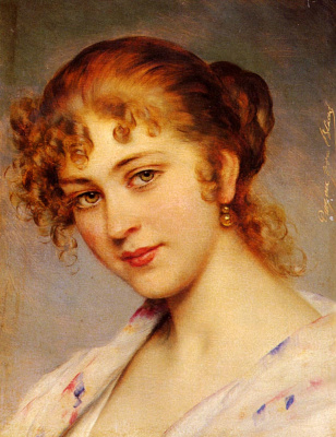 Eugene de Blaas. Portrait of a young lady