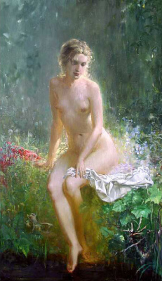 Oleg Alexandrovich Leonov. At the water. Bather