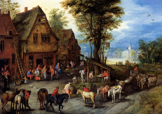 Jan Bruegel The Elder. Village street with the Holy family, came to the hotel