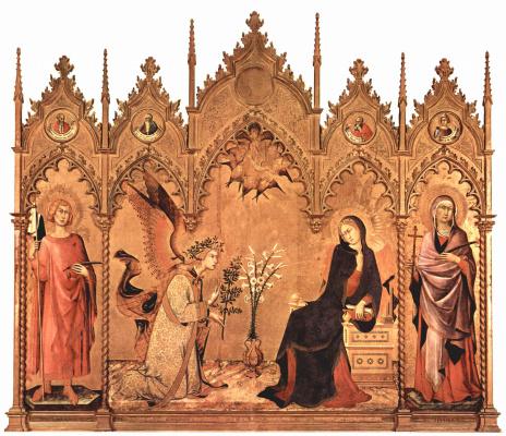Симоне Мартини. Триптих Благовещения, центральная часть. Дева Мария. Слева: св. Ансан Сиенский.