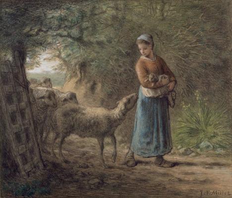 Jean-François Millet. Newborn lamb