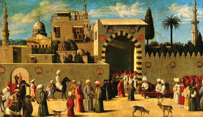 Gentile Bellini. Recognition of Ambassador Domenico Trevisano in Alicatra