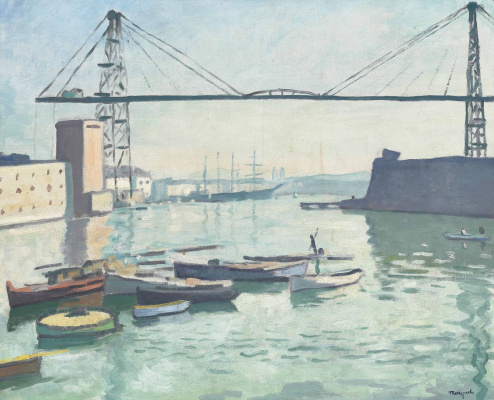Albert Marquet. The construction of the bridge in Marseille