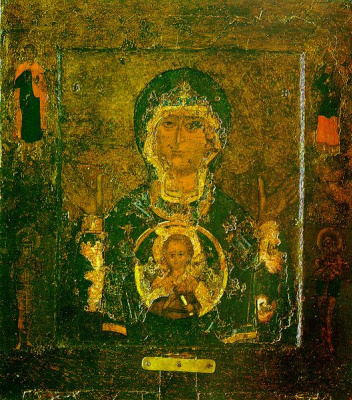 Icon Painting. Icon of the Theotokos of the sign