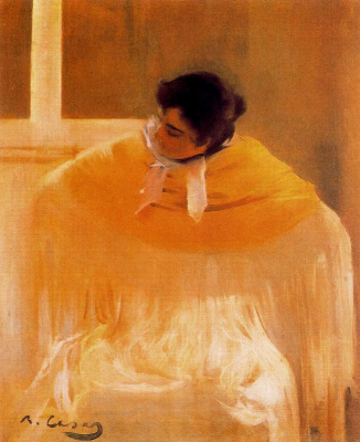 Ramon Casas i Carbó. Cheeky Woman in a Yellow Shawl (Hula)