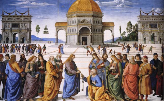 Pietro Perugino. Handing the keys to St. Peter