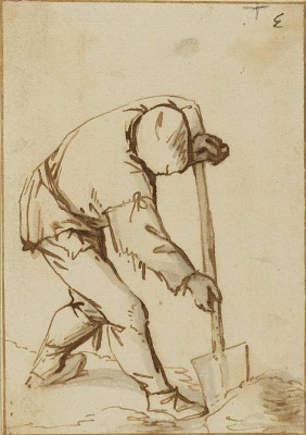 Adrian Jans van Ostade. The farmer digging the grave (the grave digger)