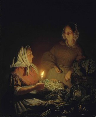 Петрус ван Шендель. На ночном рынке. 1844