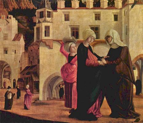 Маркс Рейхлих. Алтарь Девы Марии, сцена: Встреча Марии и Елизаветы