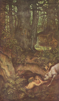 Moritz background Schwind. Mermaid watered the deer