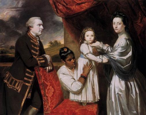 Джошуа Рейнольдс. Портрет семьи Джорджа Клайва со служанкой-индианкой