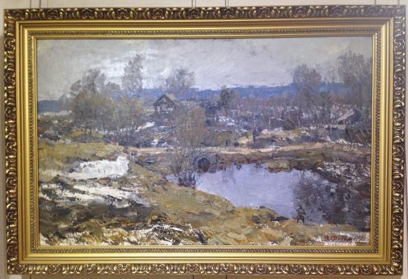 """Вячеслав Андреевич Федоров. """"Весна в Желнихе"""", 1978г., х/м, 50х80"""