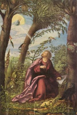 Ханс Буркмайр Старший. Алтарь св. Иоанна Евангелиста, центральная часть: св. Иоанн на острове Патмос