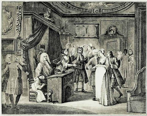 William Hogarth. A young woman finds out at the respectable burgher of the father of the child
