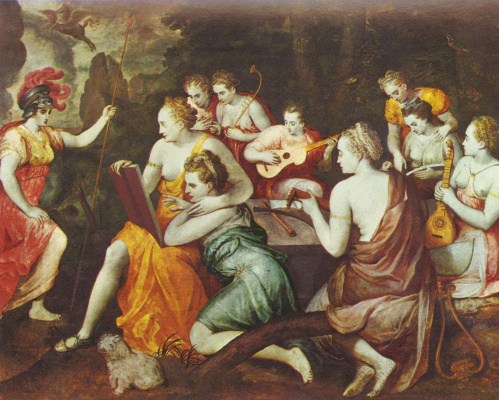 Frans Floris. Athena and the Muses