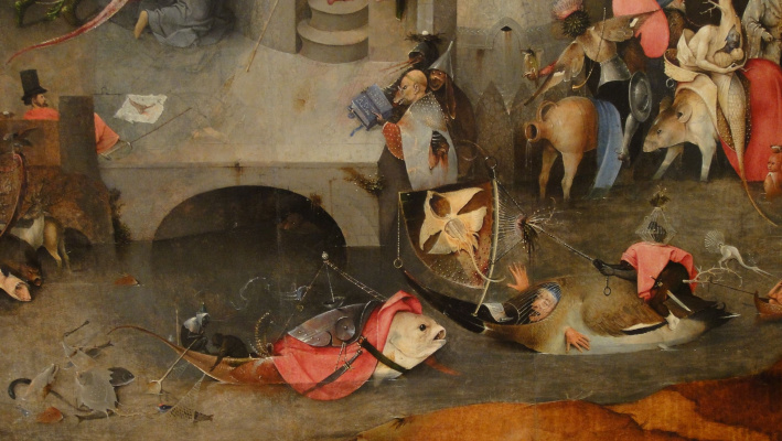 Hieronymus Bosch. The Temptation Of St. Anthony. The Central part of the triptych. Fragment