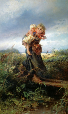 Konstantin Makovsky. Children running from the storm