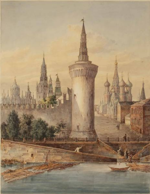 Fedor Ivanovich Yasnovsky. View of the Kremlin from the Moscow river in Moscow river tower