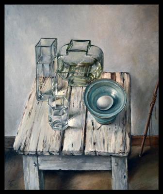 Olga Ray. Still life of Glass vases