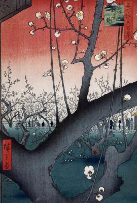 Утагава Хиросигэ. Цветущий сливовый сад в Камейдо