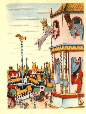 "Vladimir Mikhailovich Konashevich. Illustration for the book A.S. Pushkin ""The Tale of the Golden Cockerel"""